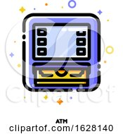 Icon Of ATM Machine For Banking Concept Flat Filled Outline Style Pixel Perfect 64x64 Editable Stroke