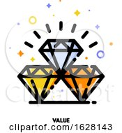 Icon Of Diamonds For Value Concept Flat Filled Outline Style Pixel Perfect 64x64 Editable Stroke