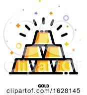 Icon Of Gold Bars Pyramid For Banking Concept Flat Filled Outline Style Pixel Perfect 64x64 Editable Stroke