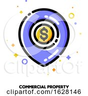 Icon Of Map Pin With Golden Dollar Coin For Commercial Real Estate Or Income Property Concept Flat Filled Outline Style Pixel Perfect 64x64 Editable Stroke