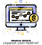 Icon Of Computer Screen With Line Graph Showing Data Visualization And Golden Dollar Coin For Financial Growth Or Increasing Revenue Concept Flat Filled Outline Style Pixel Perfect 64x64 Editable Stroke