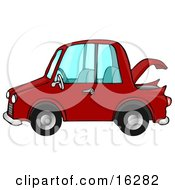 Clipart Illustration Image Of A Compact Red Car With An Open Trunk In Profile by djart