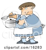 Caucasian Woman In A Blue Dress White Apron Blue Socks And Slippers Holding A Spoon And Pot While Cooking Soup For Supper In A Kitchen