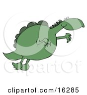 Clipart Illustration Image Of A Chubby Green Dinosaur Leaping Through The Air While Jumping For Something He Wants