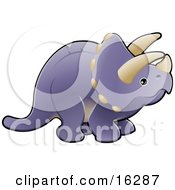 Baby Purple Triceratops Dinosaur With Horns Clipart Illustration Image by AtStockIllustration