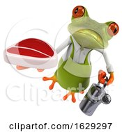 Poster, Art Print Of 3d Green Springer Frog Gardener On A White Background
