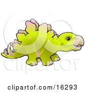 Baby Green Stegosaur Dinosaur In Profile