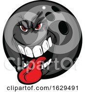 Poster, Art Print Of Tough Bowling Ball Mascot Sticking His Tongue Out