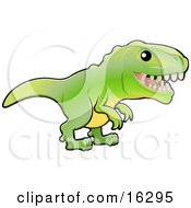 Baby Green T Rex Dinosaur With Dull Teeth Clipart Illustration Image