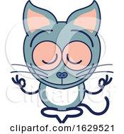 Cartoon Zen Cat Meditating In The Lotus Pose