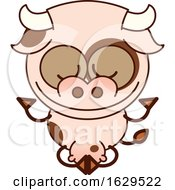 Cartoon Zen Cow Meditating In The Lotus Pose