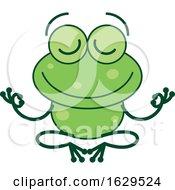 Cartoon Zen Frog Meditating In The Lotus Pose