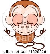 Cartoon Zen Monkey Meditating In The Lotus Pose