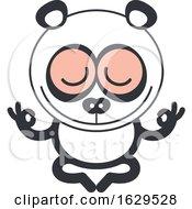 Cartoon Zen Panda Meditating In The Lotus Pose