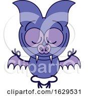 Cartoon Zen Bat Meditating In The Lotus Pose