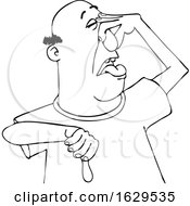 Cartoon Black And White Man Plugging His Nose To Avoid A Stinky Smell And Giving A Thumb Down