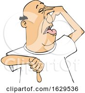 Cartoon White Man Plugging His Nose To Avoid A Stinky Smell And Giving A Thumb Down