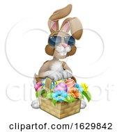 Poster, Art Print Of Easter Bunny In Shades Rabbit Eggs Hunt Cartoon