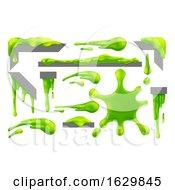 Poster, Art Print Of Slime Green Goo Messy Blobs Splats Drips And Drops