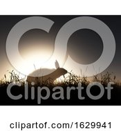 3D Easter Background With Rabbit Against Sunset Sky