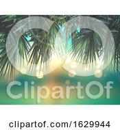 3D Palm Tree Leaves On Defocussed Background