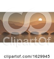 Poster, Art Print Of 3d Stepping Stones In The Ocean Against A Sunset Mountain Landscape
