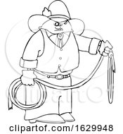 Cartoon Black And White Cowboy Holding A Lariat Rope