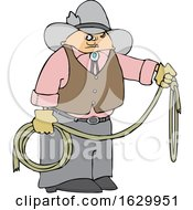 Cartoon Cowboy Holding A Lariat Rope