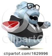 Poster, Art Print Of 3d White Business Monkey Yeti On A White Background