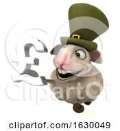 3d Irish Sheep Holding A Lira On A White Background
