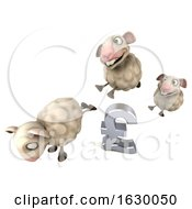 3d Sheep Jumping Over A Lira On A White Background