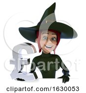 3d Sexy Green Witch Holding A Lira On A White Background