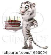 3d White Tiger Holding A Birthday Cake On A White Background