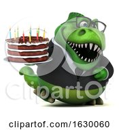 3d Green Business T Rex Dinosaur Holding A Birthday Cake On A White Background