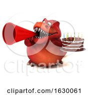 3d Red T Rex Dinosaur Holding A Birthday Cake On A White Background