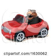3d Brown Business T Rex Dinosaur Driving A Convertible On A White Background