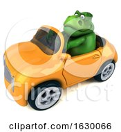 3d Green T Rex Dinosaur Driving A Convertible On A White Background