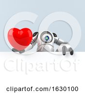 Poster, Art Print Of 3d Round Robot Character On A Gray Background