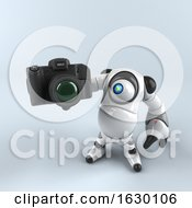 3d Round Robot Character On A Gray Background