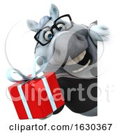 3d Chubby White Business Horse On A White Background