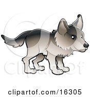 Timber Wolf In Profile Clipart Illustration Image