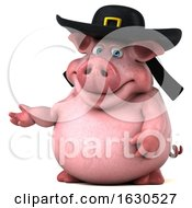 3d Chubby Breton Pig On A White Background