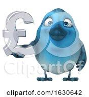 3d Blue Bird Holding A Lira Symbol On A White Background