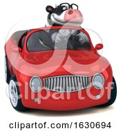 3d Business Holstein Cow Driving A Convertible On A White Background