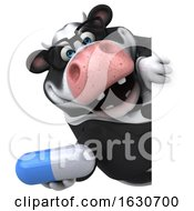 3d Business Holstein Cow On A White Background by Julos