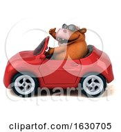3d Brown Cow Driving A Convertible On A White Background by Julos