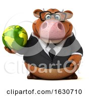 3d Brown Business Cow On A White Background by Julos