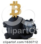 3d Black Bull Holding A Bitcoin Symbol On A White Background by Julos
