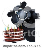 3d Black Bull Holding A Birthday Cake On A White Background by Julos