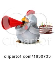 3d White Chicken Holding A Birthday Cake On A White Background